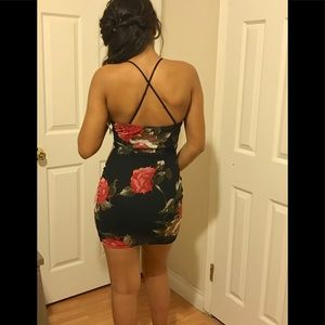 Black Dress with Roses and Criss Cross Back Strap